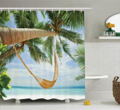 Palmiye ve Deniz Temalı Duş Perdesi Şık Dizayn