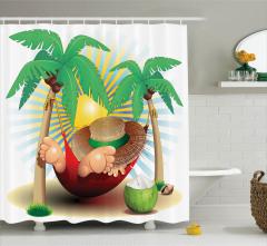 Palmiyeler ve Tatil Desenli Duş Perdesi Çocuk