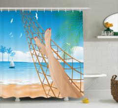 Kumsal ve Yaz Desenli Duş Perdesi Kızlar İçin