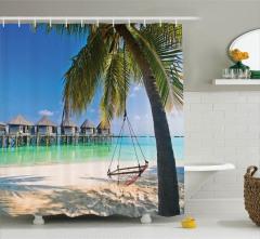 Deniz ve Palmiye Temalı Duş Perdesi Egzotik