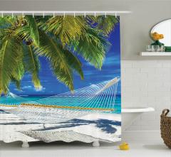 Güneş ve Kumsal Temalı Duş Perdesi Palmiyeli