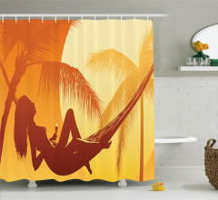 Plaj ve Palmiye Desenli Duş Perdesi Turuncu