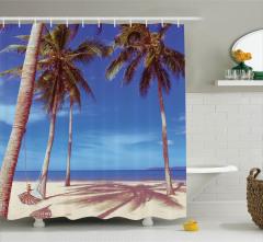 Kumsal ve Palmiye Desenli Duş Perdesi Deniz