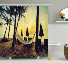 Plaj ve Hamak Desenli Duş Perdesi Palmiyeli