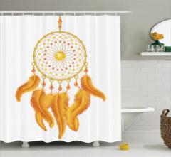 Sarı Tüylü Süsleme Desenli Duş Perdesi Etnik