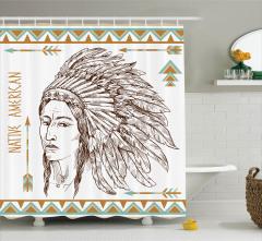 Kızılderili Desenli Duş Perdesi Siyah Beyaz