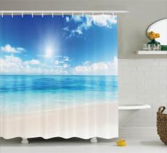 Mavi Duş Perdesi Okyanus Kenarı Bulutlar Kumsal