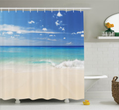 Mavi Duş Perdesi Kumsalda Dalgalar Okyanus Beyaz