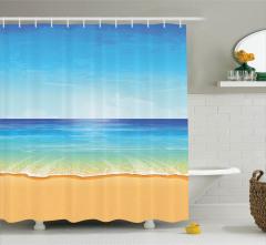 Egzotik Kumsal Temalı Duş Perdesi Deniz Mavi Turkuaz