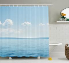 Deniz Manzaralı Duş Perdesi Beyaz Bulutlar Tropikal