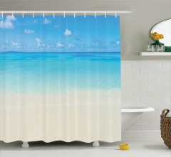 Okyanus Manzaralı Duş Perdesi Doğal Cennet Temalı