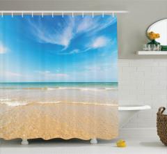 Okyanus Manzaralı Duş Perdesi Egzotik Kumsal Turkuaz