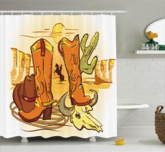 Çizgi Roman Tarzı Duş Perdesi Vahşi Batı Kovboy Sarı