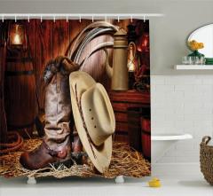 Vahşi Batı Temalı Duş Perdesi Kovboy Şapkası Rodeo