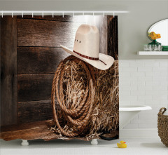Vahşi Batı Temalı Duş Perdesi Kovboy Kahverengi