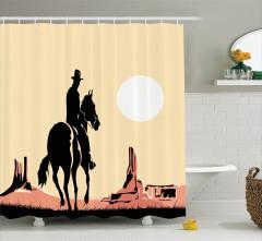 Vahşi Batı Temalı Duş Perdesi Gün Batımında Kovboy