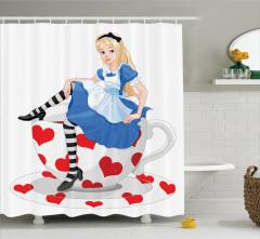 Alice Temalı Duş Perdesi Çocuklar İçin Trend