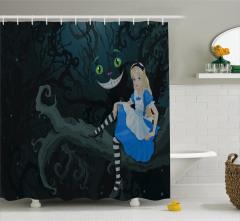 Alice ve Orman Temalı Duş Perdesi Çocuk İçin
