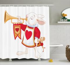 Kalpli Tavşan Desenli Duş Perdesi Çocuk İçin
