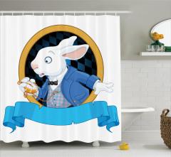 Tavşan Desenli Duş Perdesi Çocuklar İçin Mavi