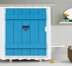 Mavi Ahşap Panjur Temalı Duş Perdesi Kalpli