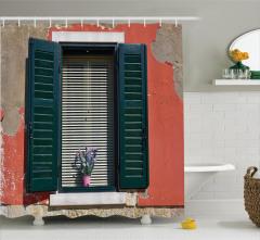 Çiçekli Pencere Temalı Duş Perdesi Ahşap Bina