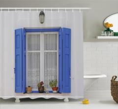 Mavi Pencere Temalı Duş Perdesi Çiçekli Ahşap