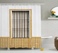Pencere Temalı Duş Perdesi Beyaz Panjur Duvar