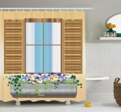 Ahşap Pencere Desenli Duş Perdesi Çiçekli