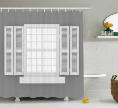 Beyaz Ahşap Pencere Temalı Duş Perdesi Gri Fon