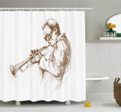 Caz Temalı Duş Perdesi Müzik Severler İçin