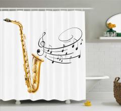Müzik Temalı Duş Perdesi Nota Saksafon Beyaz