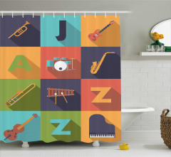 Poster Desenli Duş Perdesi Müzik Temalı Caz
