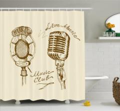 Mikrofon Temalı Duş Perdesi Müzik Nostalji