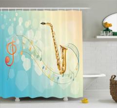 Rengarenk Müzik Temalı Duş Perdesi Notalar