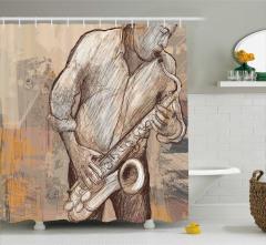 Müzik Temalı Duş Perdesi Saksafon Caz Müzisyen