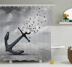 Özgürlük Temalı Duş Perdesi Kuşlar Çapa Umut