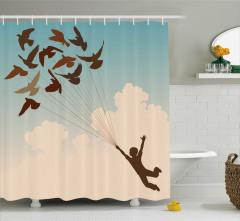 Çocuk ve Gökyüzü Temalı Duş Perdesi Kuş Mavi