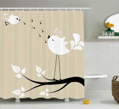 Beyaz Kuş Desenli Duş Perdesi Şık Tasarım Nota