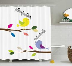 Şarkı Söyleyen Kuş Temalı Duş Perdesi Trend