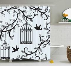 Kuş ve Ağaç Desenli Duş Perdesi Şık Tasarım