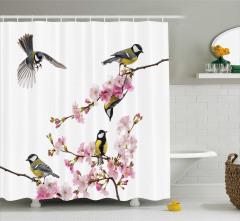 Pembe Çiçek ve Kuş Temalı Duş Perdesi Çeyizlik