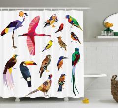 Rengarenk Kuşlar Temalı Duş Perdesi Çeyizlik