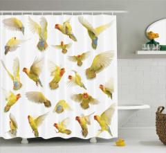 Kuş Temalı Duş Perdesi Beyaz Sarı Şık Tasarım