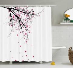 Kiraz Çiçekleri Temalı Duş Perdesi Şık Tasarım