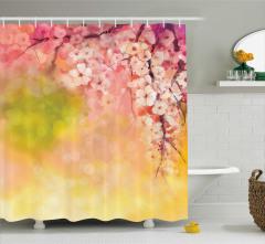 Kiraz Çiçekleri Desenli Duş Perdesi Çeyizlik