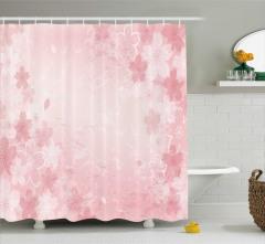 Pembe Kiraz Çiçeği Desenli Duş Perdesi Trend