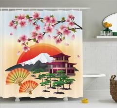 Japon Kiraz Çiçeği Desenli Duş Perdesi Şık