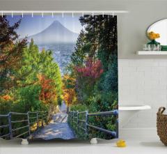 Cennet Yolu Temalı Duş Perdesi Japonya Ağaç