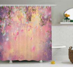 Çiçekli Kiraz Ağacı Temalı Duş Perdesi Pembe